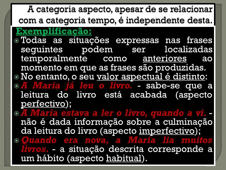 Exemplificação:  Todas as situações expressas nas frases seguintes podem ser localizadas temporalmente como anteriores ao momento em que as frases são produzidas.