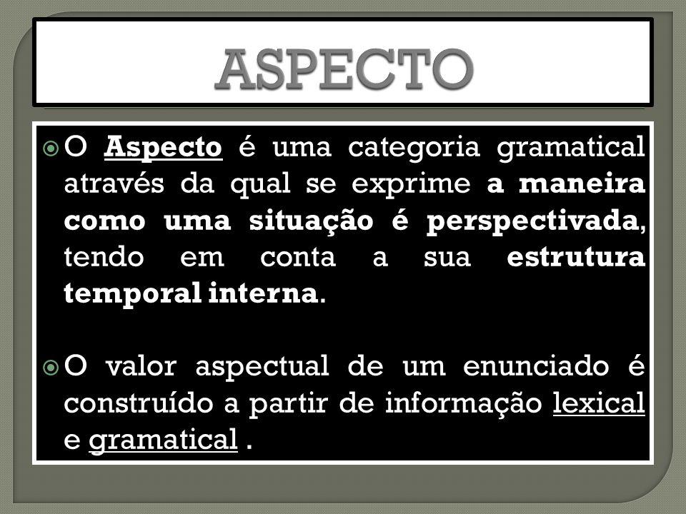  O Aspecto é uma categoria gramatical através da qual se exprime a maneira como uma situação é perspectivada, tendo em conta a sua estrutura temporal interna.