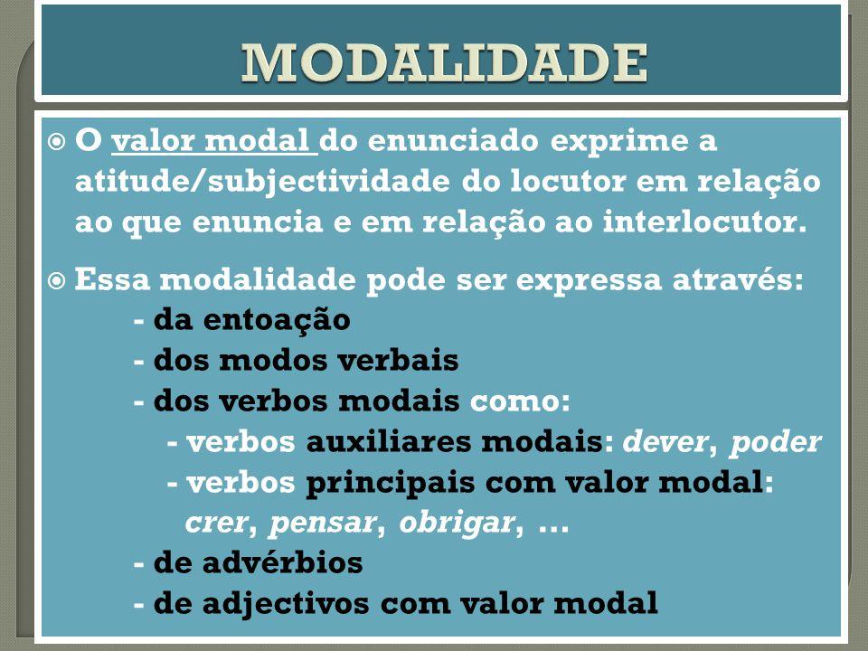  O valor modal do enunciado exprime a atitude/subjectividade do locutor em relação ao que enuncia e em relação ao interlocutor.