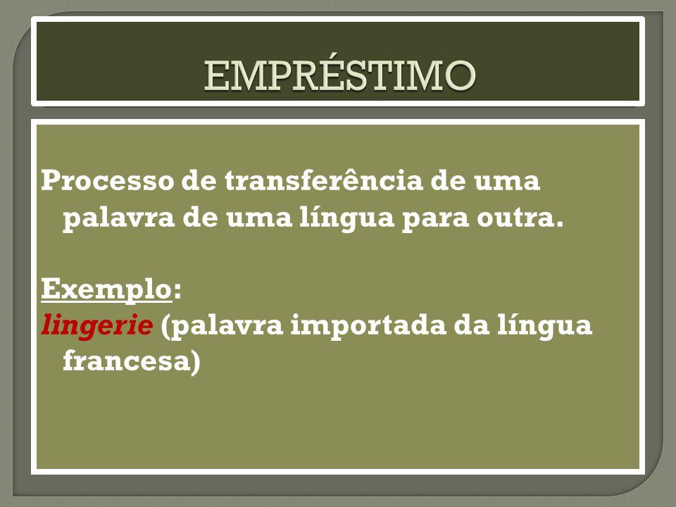 Processo de transferência de uma palavra de uma língua para outra.