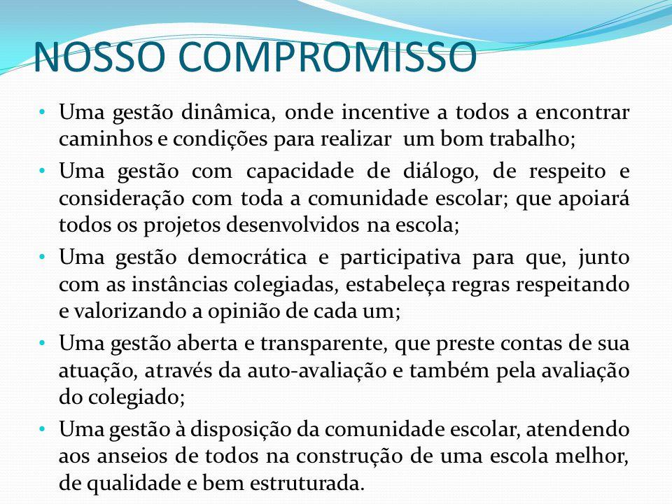 NOSSO COMPROMISSO • Uma gestão dinâmica, onde incentive a todos a encontrar caminhos e condições para realizar um bom trabalho; • Uma gestão com capac