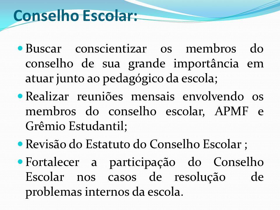 Conselho Escolar:  Buscar conscientizar os membros do conselho de sua grande importância em atuar junto ao pedagógico da escola;  Realizar reuniões
