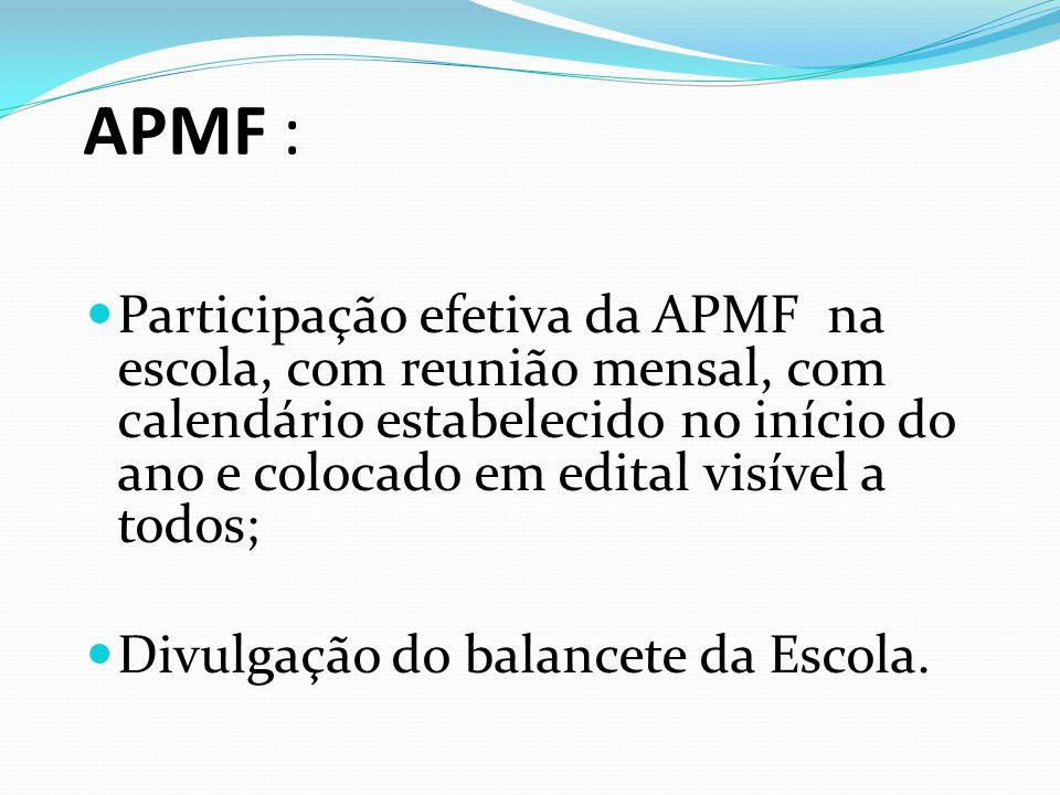 APMF :  Participação efetiva da APMF na escola, com reunião mensal, com calendário estabelecido no início do ano e colocado em edital visível a todos