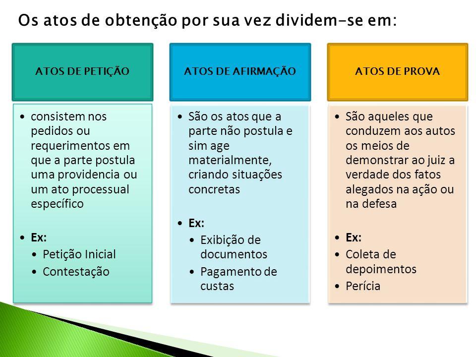 Os atos de obtenção por sua vez dividem-se em: ATOS DE PETIÇÃO •consistem nos pedidos ou requerimentos em que a parte postula uma providencia ou um at