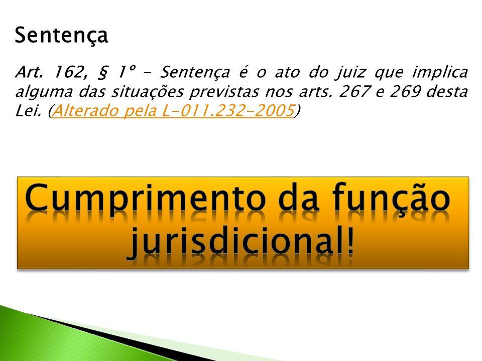 Sentença Art. 162, § 1º - Sentença é o ato do juiz que implica alguma das situações previstas nos arts. 267 e 269 desta Lei. (Alterado pela L-011.232-