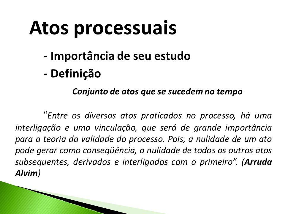 Atos processuais - Importância de seu estudo - Definição Conjunto de atos que se sucedem no tempo Entre os diversos atos praticados no processo, há uma interligação e uma vinculação, que será de grande importância para a teoria da validade do processo.