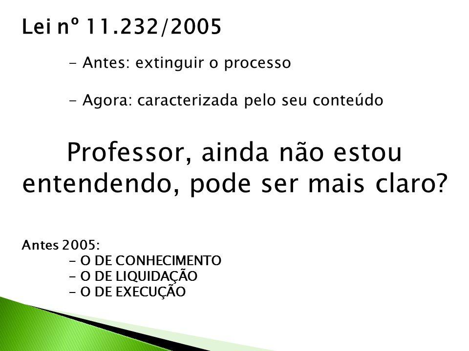 Lei nº 11.232/2005 - Antes: extinguir o processo - Agora: caracterizada pelo seu conteúdo Professor, ainda não estou entendendo, pode ser mais claro.