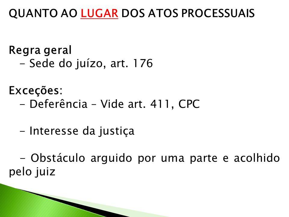 QUANTO AO LUGAR DOS ATOS PROCESSUAIS Regra geral - Sede do juízo, art. 176 Exceções: - Deferência – Vide art. 411, CPC - Interesse da justiça - Obstác