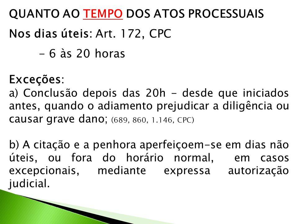 QUANTO AO TEMPO DOS ATOS PROCESSUAIS Nos dias úteis: Art. 172, CPC - 6 às 20 horas Exceções : a) Conclusão depois das 20h - desde que iniciados antes,