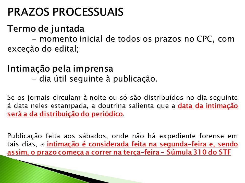 PRAZOS PROCESSUAIS Termo de juntada - momento inicial de todos os prazos no CPC, com exceção do edital; Intimação pela imprensa - dia útil seguinte à publicação.