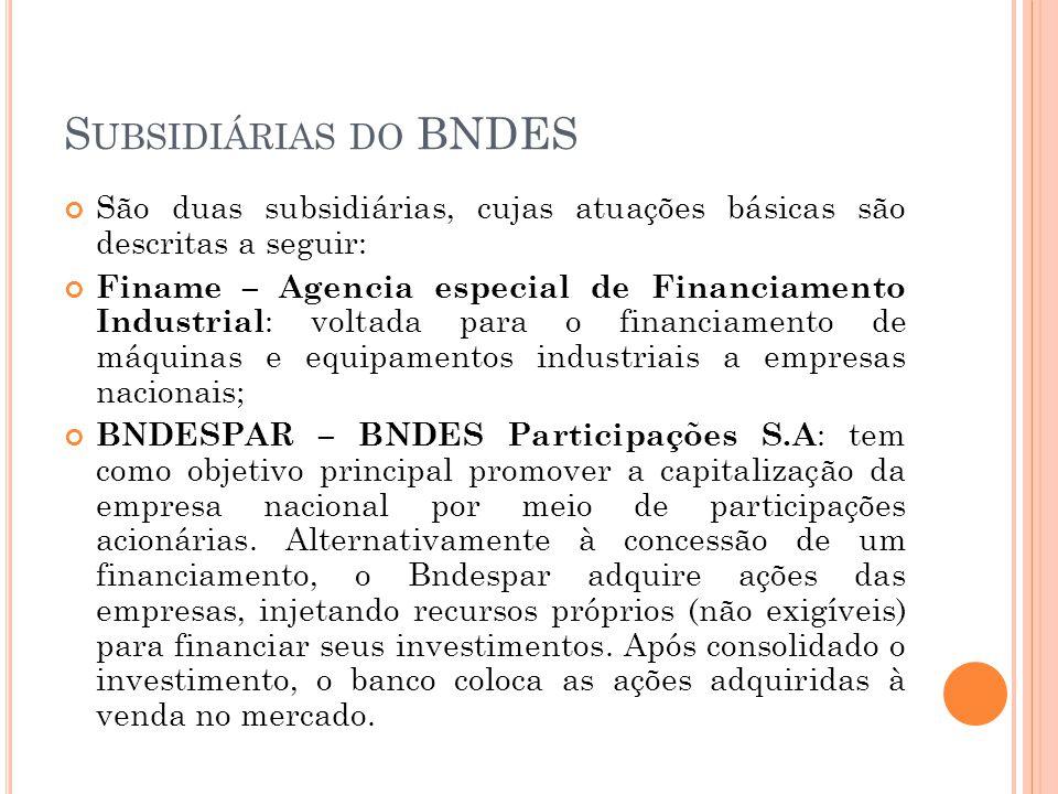 S UBSIDIÁRIAS DO BNDES São duas subsidiárias, cujas atuações básicas são descritas a seguir: Finame – Agencia especial de Financiamento Industrial : v