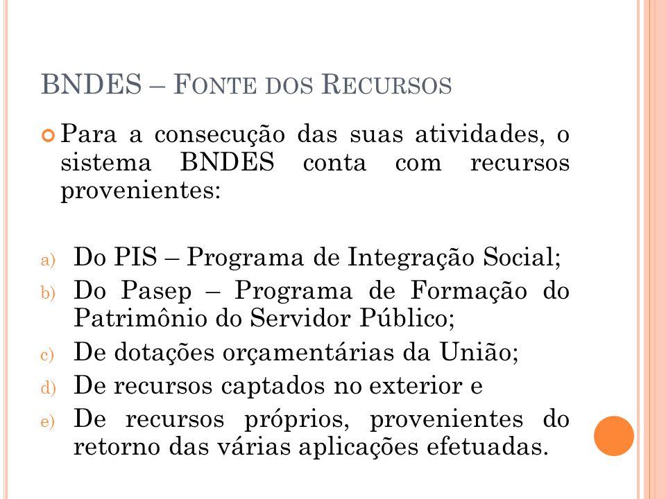 BNDES – F ONTE DOS R ECURSOS Para a consecução das suas atividades, o sistema BNDES conta com recursos provenientes: a) Do PIS – Programa de Integraçã