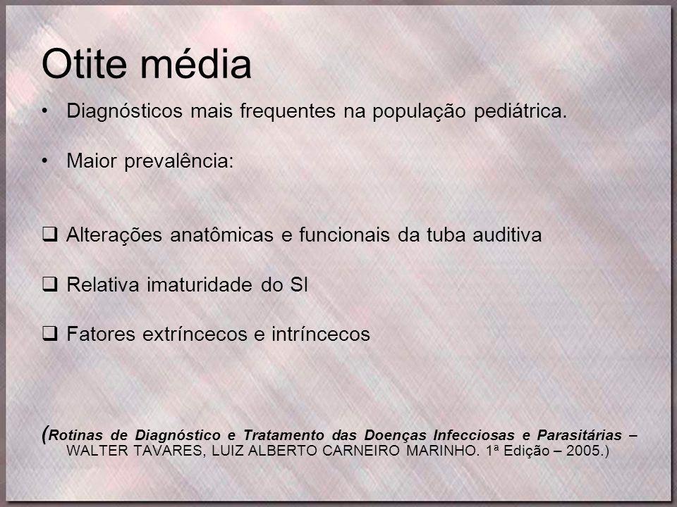 Otite média •Diagnósticos mais frequentes na população pediátrica. •Maior prevalência:  Alterações anatômicas e funcionais da tuba auditiva  Relativ