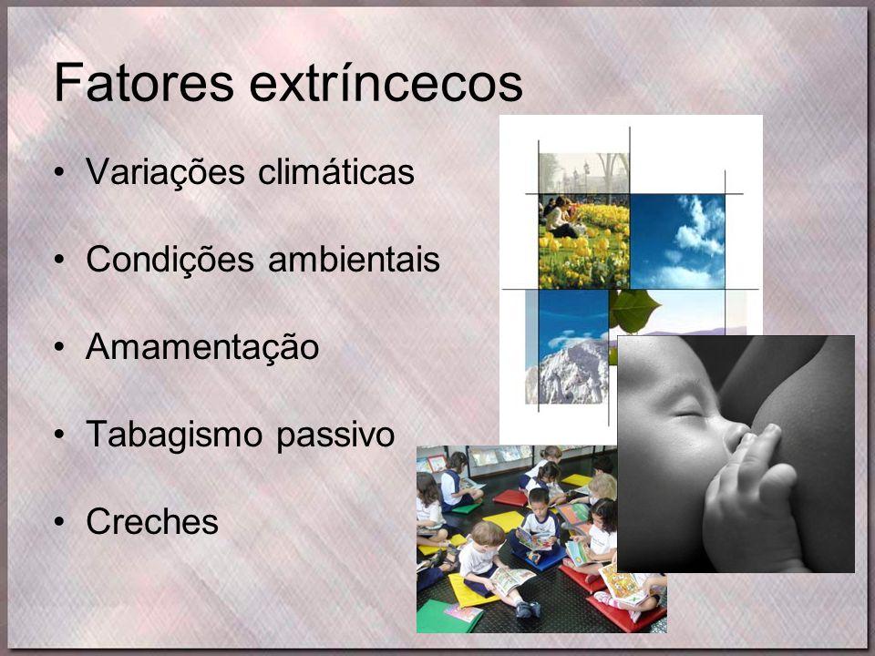Fatores extríncecos •Variações climáticas •Condições ambientais •Amamentação •Tabagismo passivo •Creches
