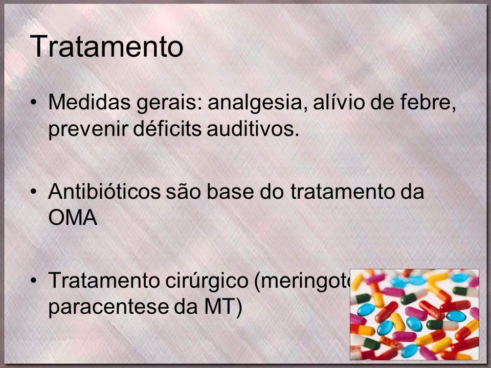 Tratamento •Medidas gerais: analgesia, alívio de febre, prevenir déficits auditivos. •Antibióticos são base do tratamento da OMA •Tratamento cirúrgico