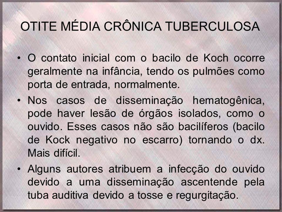 OTITE MÉDIA CRÔNICA TUBERCULOSA •O contato inicial com o bacilo de Koch ocorre geralmente na infância, tendo os pulmões como porta de entrada, normalm