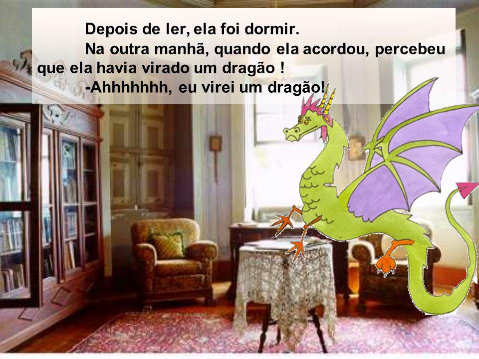 A aranha morava perto de um livro.Então, ela decidiu ler o livro e viu que o livro era de dragão.
