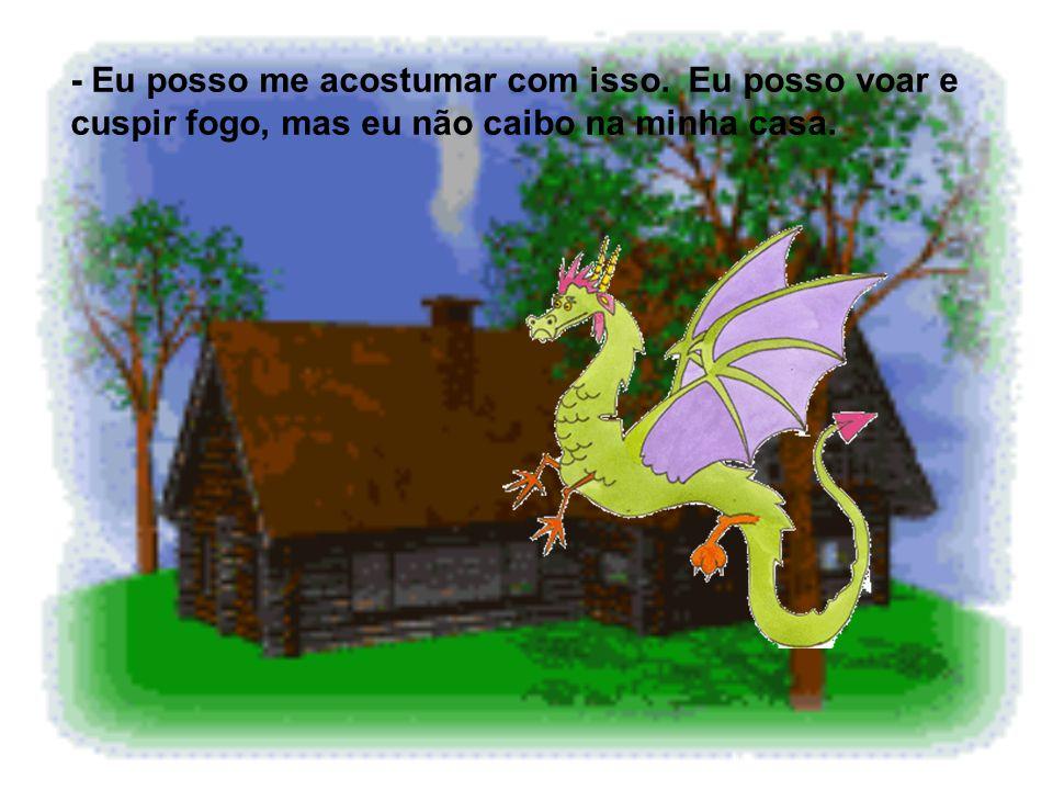 Depois de ler, ela foi dormir. Na outra manhã, quando ela acordou, percebeu que ela havia virado um dragão ! -Ahhhhhhh, eu virei um dragão!