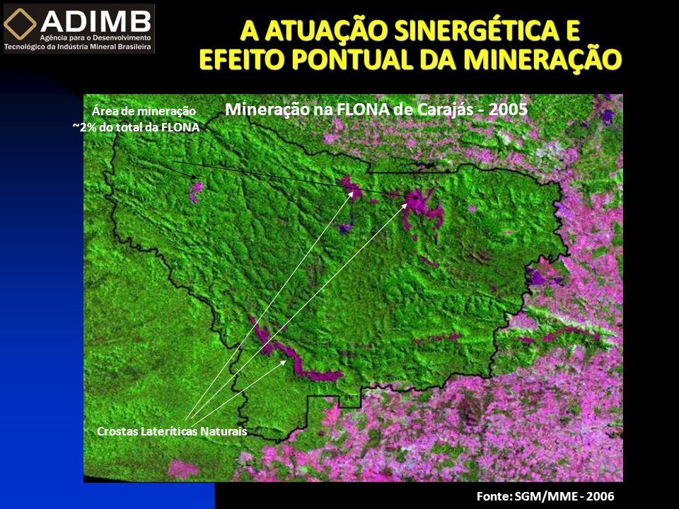 A ATUAÇÃO SINERGÉTICA E EFEITO PONTUAL DA MINERAÇÃO Área de mineração ~2% do total da FLONA Crostas Lateríticas Naturais Mineração na FLONA de Carajás - 2005 Fonte: SGM/MME - 2006