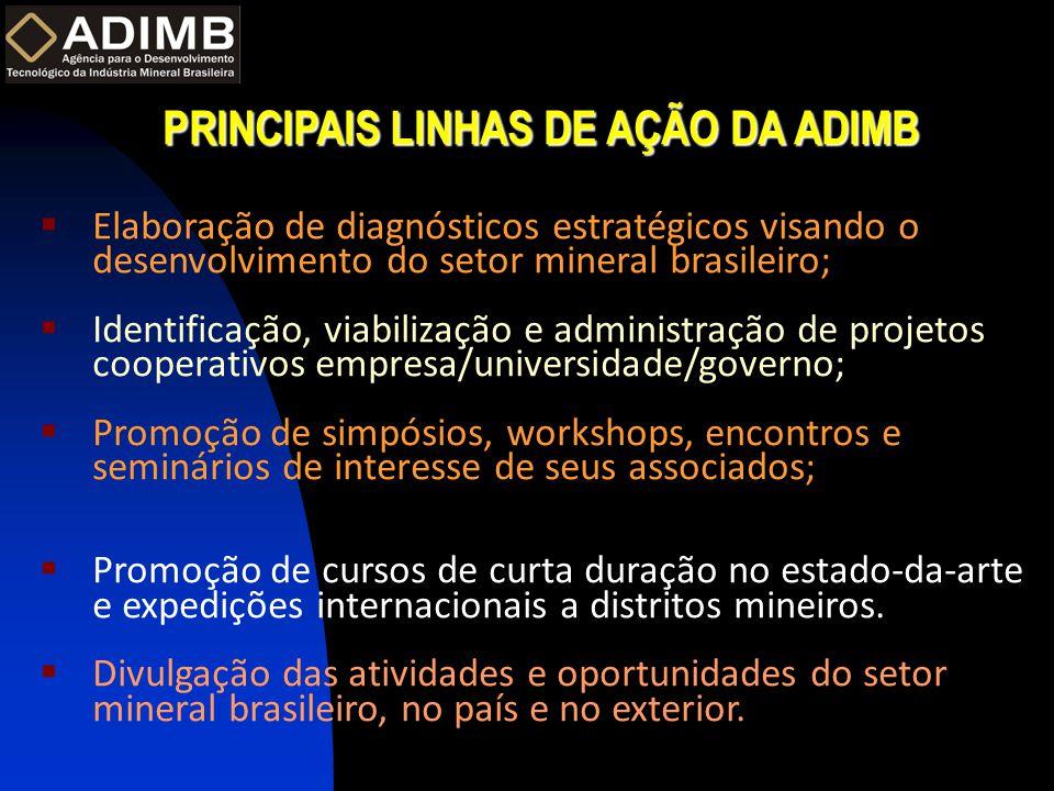 PRINCIPAIS LINHAS DE AÇÃO DA ADIMB  Elaboração de diagnósticos estratégicos visando o desenvolvimento do setor mineral brasileiro;  Identificação, v