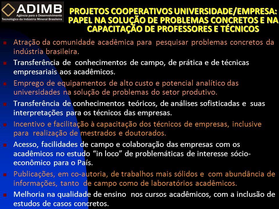 EXEMPLOS DE PROJETOS P&D&I DA ADIMB COM EMPRESAS  Caracterização de Depósitos Auríferos em Distritos Mineiros Brasileiros – ADIMB/DNPM- UFMG, UFPA, UFBA, UnB, UNISINOS; DOCEGEO, UGM, GEOSOL, BHP, RTDM e ANGLOGOLD.