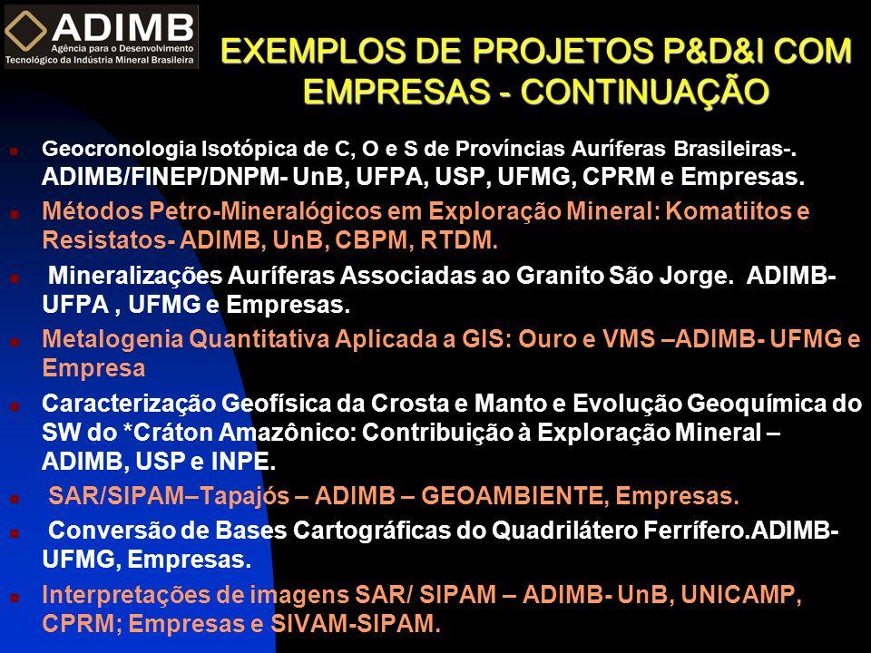 EXEMPLOS DE PROJETOS P&D&I COM EMPRESAS - CONTINUAÇÃO  Geocronologia Isotópica de C, O e S de Províncias Auríferas Brasileiras-. ADIMB/FINEP/DNPM- Un