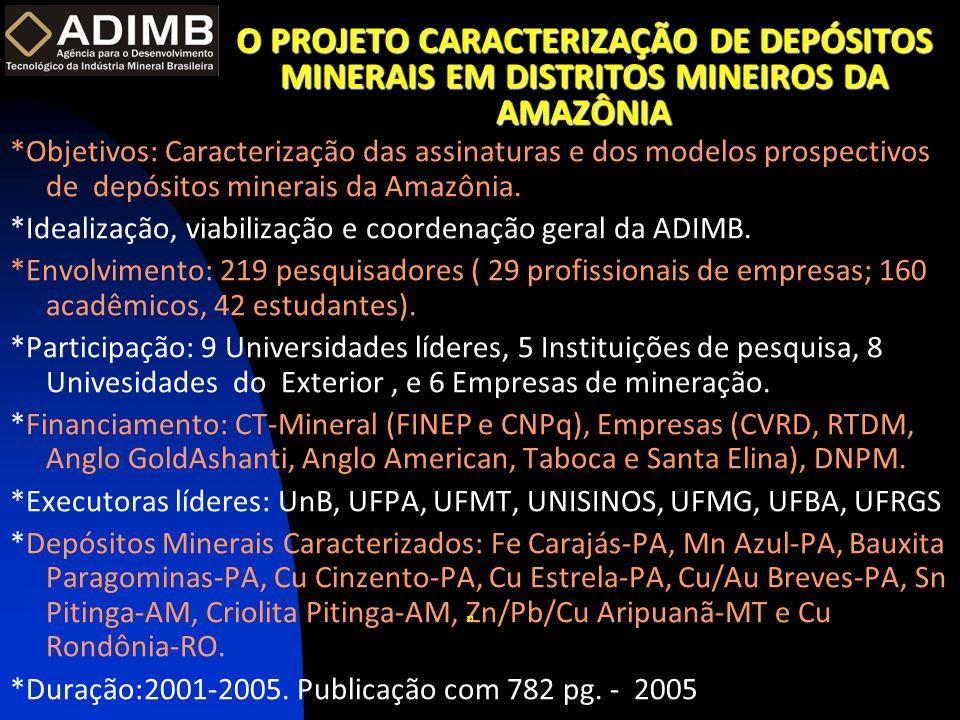 O PROJETO CARACTERIZAÇÃO DE DEPÓSITOS MINERAIS EM DISTRITOS MINEIROS DA AMAZÔNIA *Objetivos: Caracterização das assinaturas e dos modelos prospectivos de depósitos minerais da Amazônia.