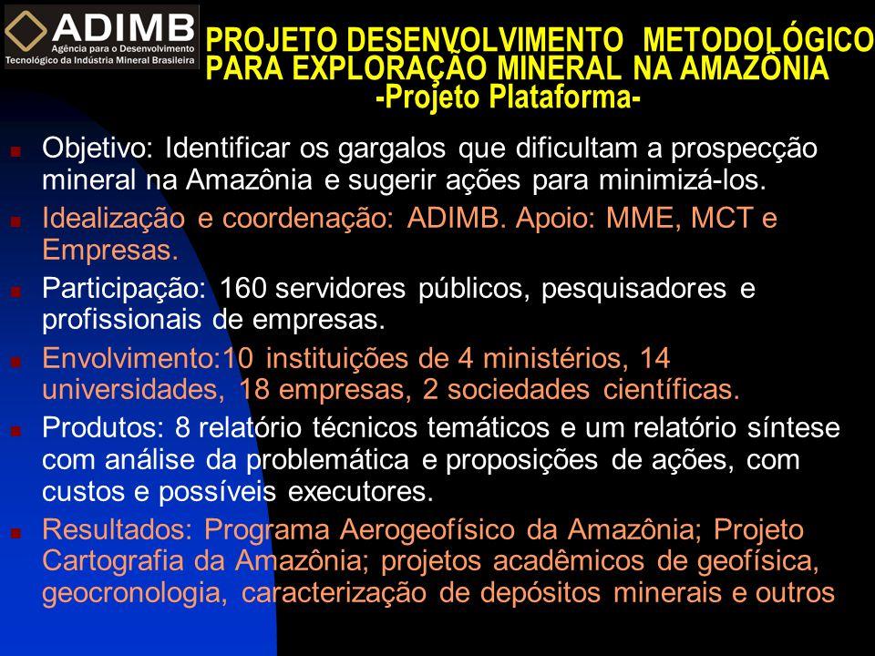 PROJETO DESENVOLVIMENTO METODOLÓGICO PARA EXPLORAÇÃO MINERAL NA AMAZÔNIA -Projeto Plataforma-  Objetivo: Identificar os gargalos que dificultam a prospecção mineral na Amazônia e sugerir ações para minimizá-los.