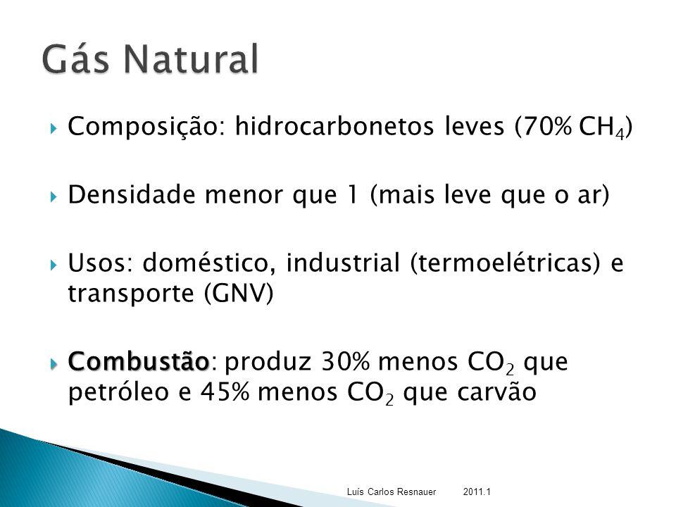  Composição: hidrocarbonetos leves (70% CH 4 )  Densidade menor que 1 (mais leve que o ar)  Usos: doméstico, industrial (termoelétricas) e transpor