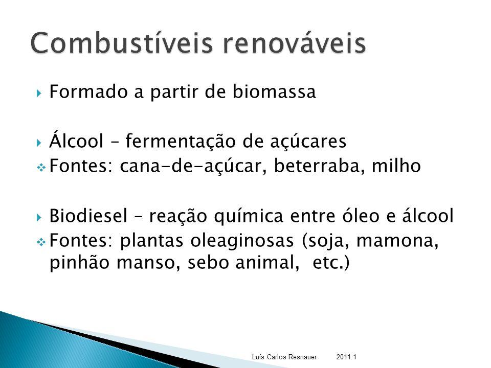  Formado a partir de biomassa  Álcool – fermentação de açúcares  Fontes: cana-de-açúcar, beterraba, milho  Biodiesel – reação química entre óleo e