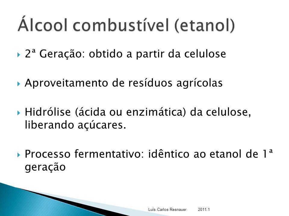  2ª Geração: obtido a partir da celulose  Aproveitamento de resíduos agrícolas  Hidrólise (ácida ou enzimática) da celulose, liberando açúcares. 