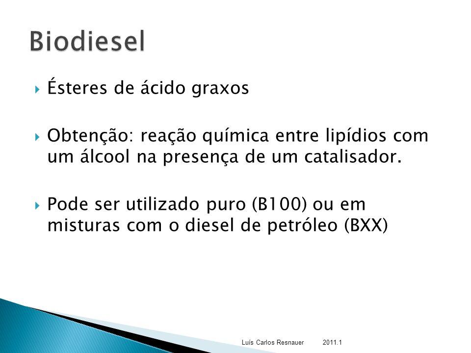  Ésteres de ácido graxos  Obtenção: reação química entre lipídios com um álcool na presença de um catalisador.  Pode ser utilizado puro (B100) ou e