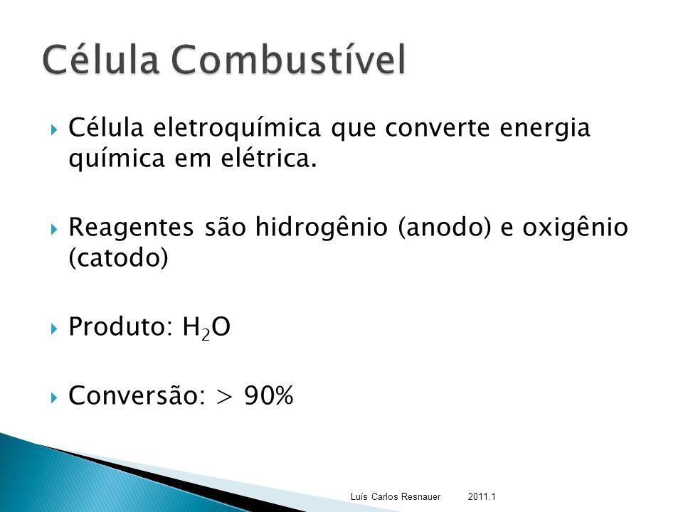  Célula eletroquímica que converte energia química em elétrica.  Reagentes são hidrogênio (anodo) e oxigênio (catodo)  Produto: H 2 O  Conversão: