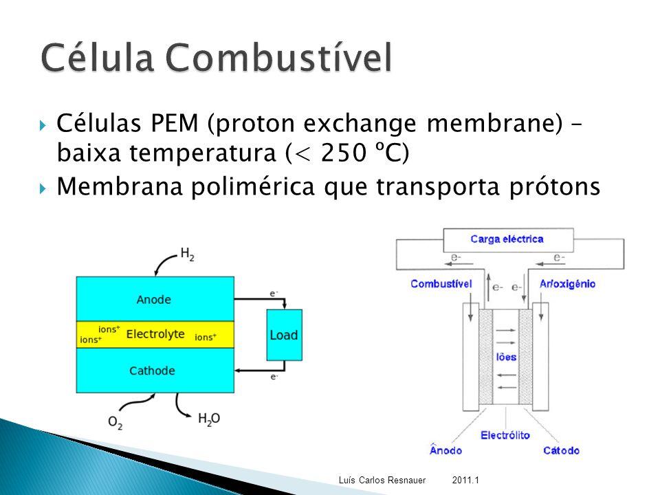  Células PEM (proton exchange membrane) – baixa temperatura (< 250 ºC)  Membrana polimérica que transporta prótons Luís Carlos Resnauer 2011.1