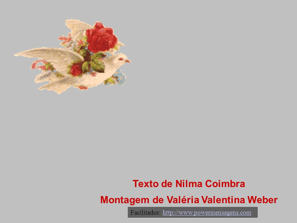 Texto de Nilma Coimbra Montagem de Valéria Valentina Weber Facilitador: http://www.powermensagens.comhttp://www.powermensagens.com