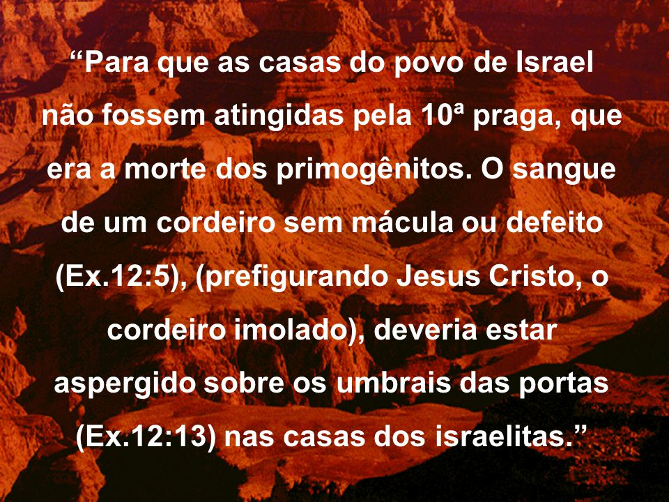 """""""Para que as casas do povo de Israel não fossem atingidas pela 10ª praga, que era a morte dos primogênitos. O sangue de um cordeiro sem mácula ou defe"""