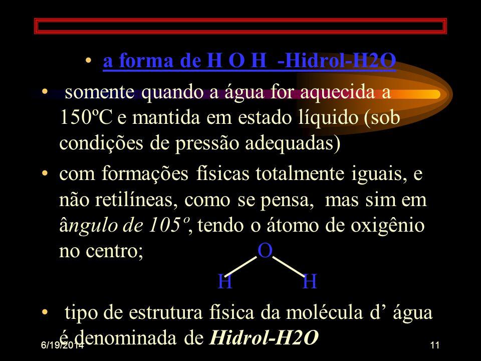 6/19/201410 •em 1900, admiti-se : estruturas das moléculas da água não são tão somente ou apenas da mesma forma, podendo estar na forma até de triedro