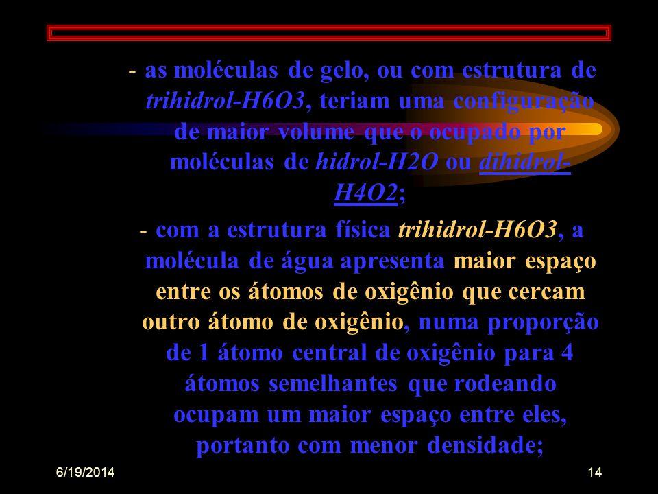 """6/19/201413 •aos 15ºC o """"hidrol"""" passa a constituir apenas 5% do total das moléculas de água, com predominância de 90% de """"dihidrol- H4O2"""" e 5% de """"tr"""