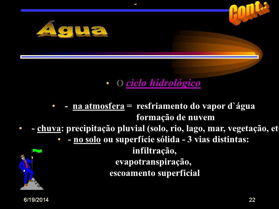 6/19/201421 C i c l o s b i o g e o q u í m i c o s •Movimento cíclico dos elementos físicos (geo) do ambiente e organismos vivos (bio), comprometidos
