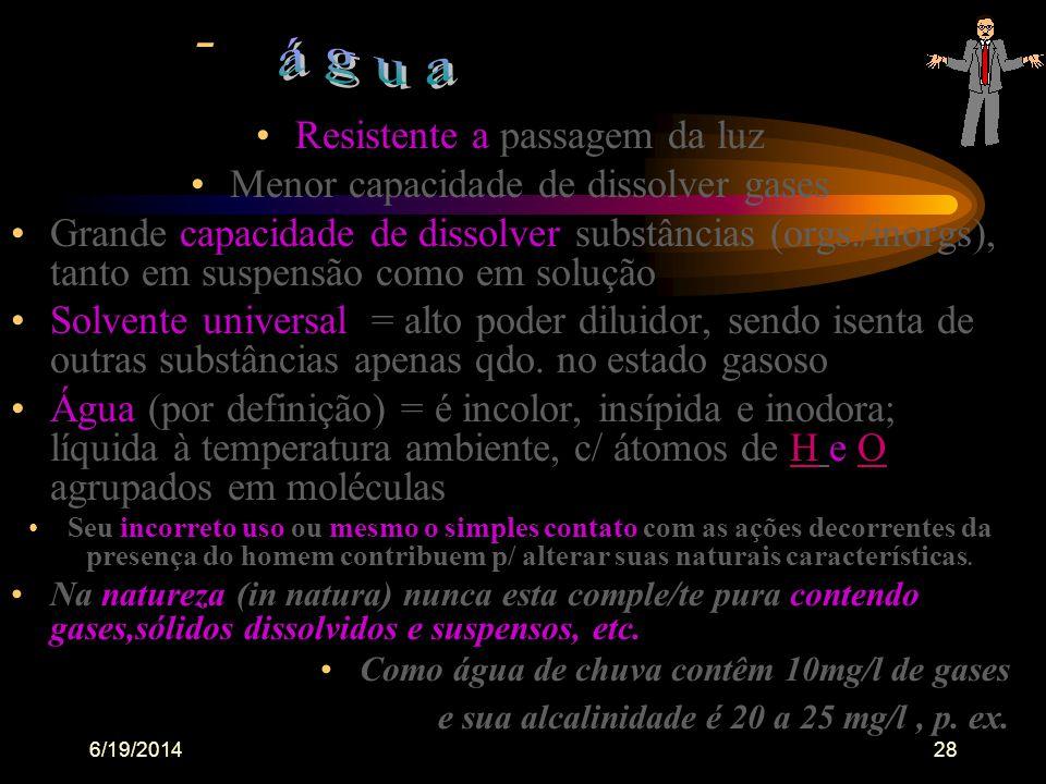 6/19/201427 •A água estritamente definida como composto puro,deveria exibir características químicas e físicas previsíveis, pois que as propriedades d