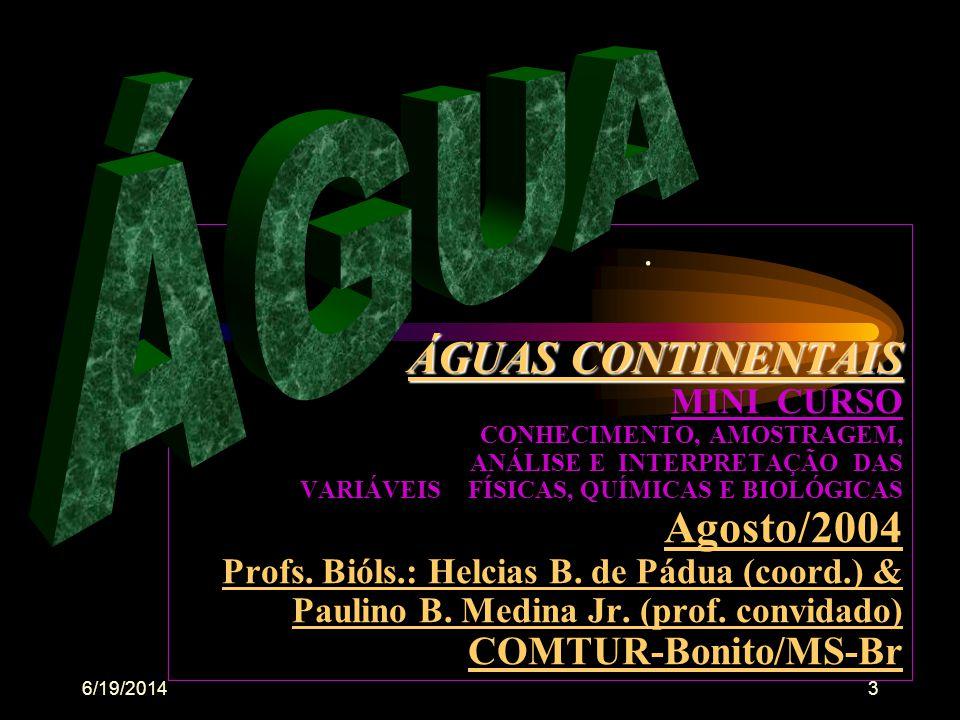 6/19/20143 ÁGUAS CONTINENTAIS ÁGUAS CONTINENTAIS MINI CURSO CONHECIMENTO, AMOSTRAGEM, ANÁLISE E INTERPRETAÇÃO DAS VARIÁVEIS FÍSICAS, QUÍMICAS E BIOLÓGICAS Agosto/2004 Profs.