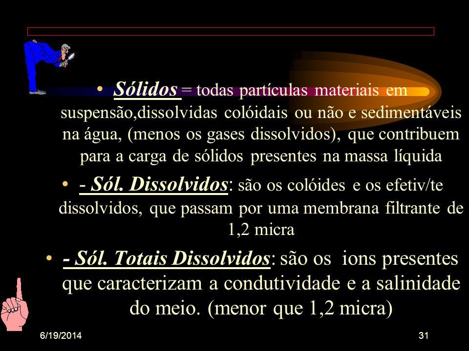 6/19/201430 - Brasil : seg..Res. CONAMA/86 • Água doce = menor que 0,5‰ de salinidade (‰) •Água salobra = de 0,5‰ a 30,0‰ •Água salgada = maior que 30