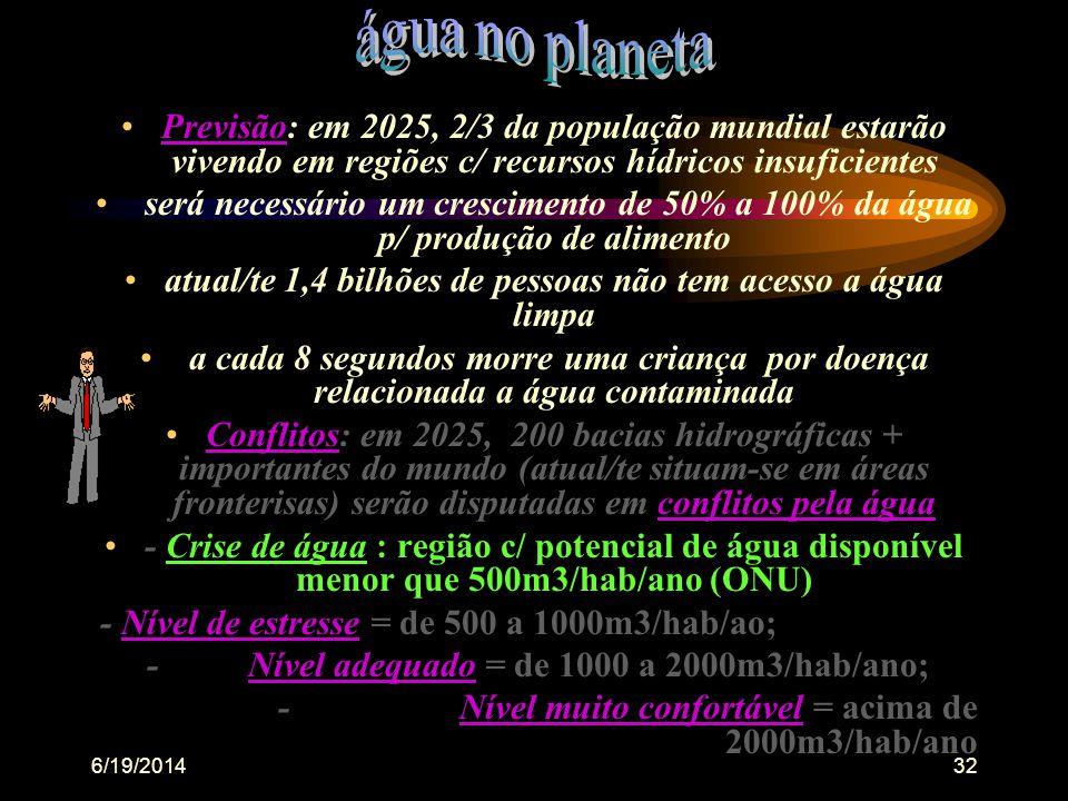 6/19/201431 •Sólidos = todas partículas materiais em suspensão,dissolvidas colóidais ou não e sedimentáveis na água, (menos os gases dissolvidos), que