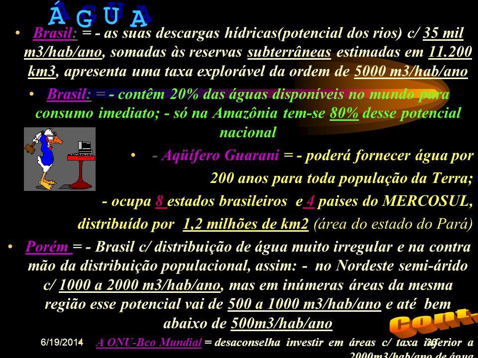 6/19/201432 •Previsão: em 2025, 2/3 da população mundial estarão vivendo em regiões c/ recursos hídricos insuficientes • será necessário um cresciment