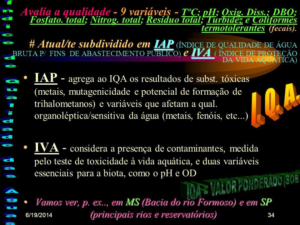 6/19/201433 •Brasil: = - as suas descargas hídricas(potencial dos rios) c/ 35 mil m3/hab/ano, somadas às reservas subterrâneas estimadas em 11.200 km3