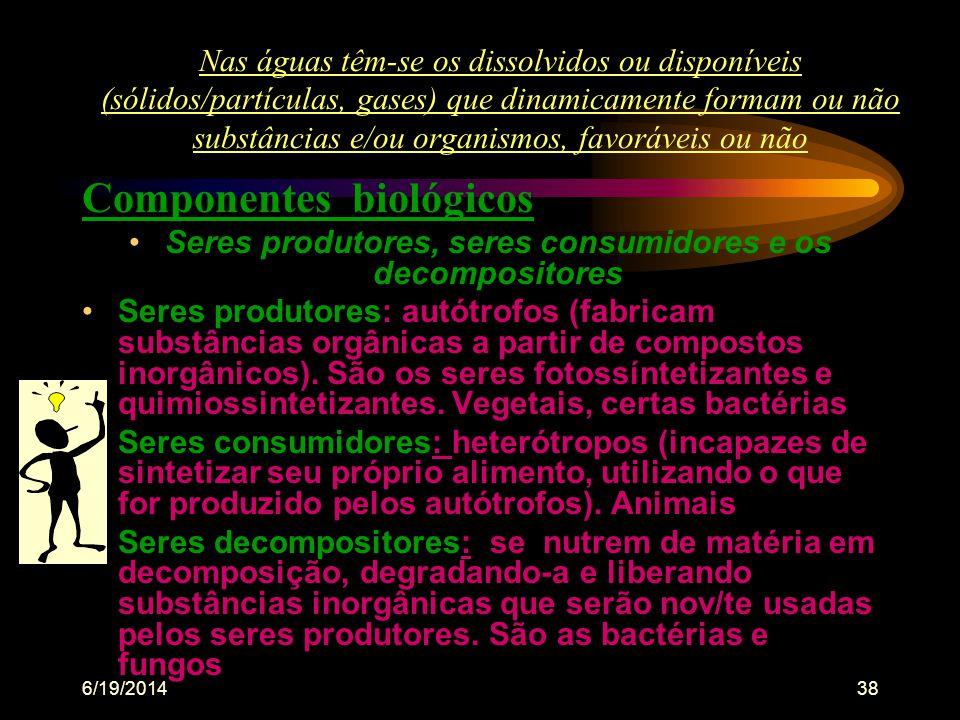 6/19/201437 •CONTAMINAÇÃO •CAUSADA POR ELEMENTOS QUE LANÇADOS NA ÁGUA, NO AR, NO SOLO, ETC, TORNA-OS DIFERENTES E NOCIVOS, COMO UM VENENO OU UM SER PA
