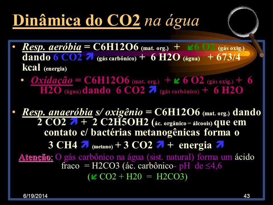 6/19/201442 CO2 - Gás carbônico •Na atmosfera = o CO2 esta presente 700 vezes menos que o oxigênio •Na água o CO2 é 35 vezes mais solúvel que o O2 •Os