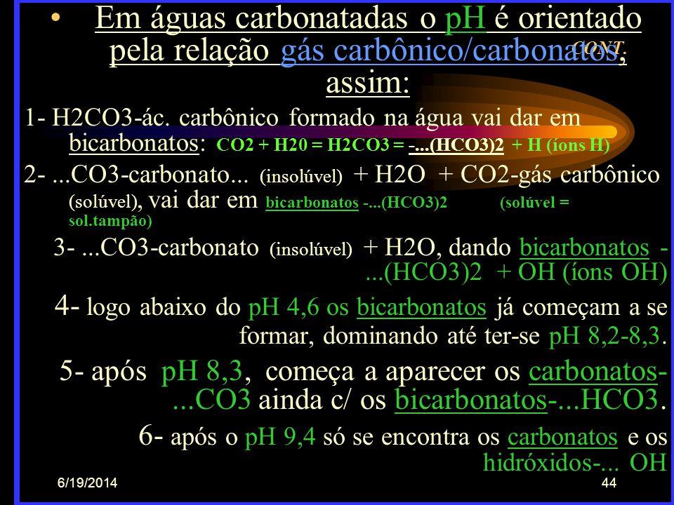 6/19/201443 Dinâmica do CO2 na água •Resp. aeróbia = C6H12O6 (mat. org.) +  6 O2 (gás oxig.) dando 6 CO2  (gás carbônico) + 6 H2O (água) + 673/4 kca