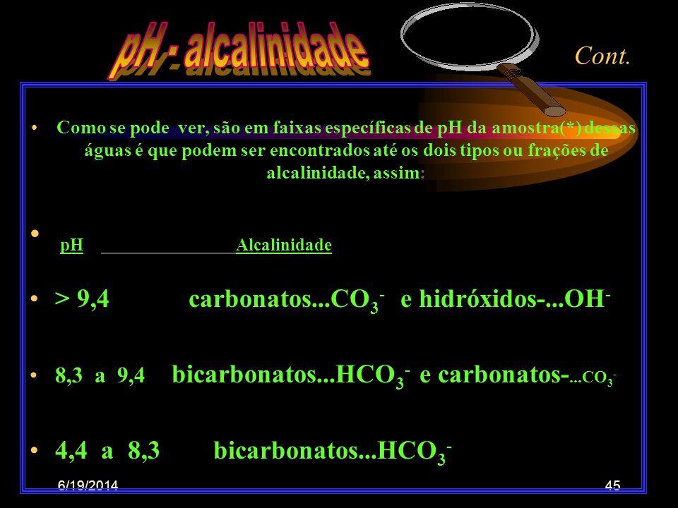6/19/201444 CONT. •Em águas carbonatadas o pH é orientado pela relação gás carbônico/carbonatos, assim: 1- H2CO3-ác. carbônico formado na água vai dar