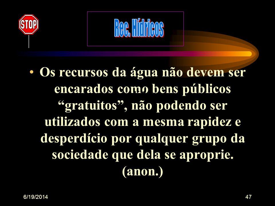 6/19/201446 A ÁGUA NO BRASIL •é um valioso capital ecológico, (quando do seu uso, reuso, reserva e negociação entre países, estados, empresas, institu